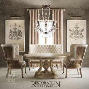 مدل سه بعدی میز و صندلی Pro 3dsky - AVE Restoration Hardware English 19th